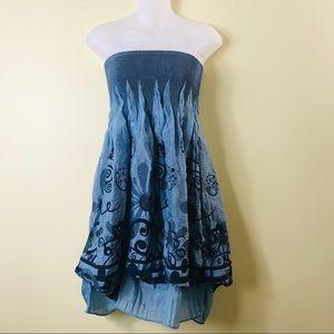 Anthropologie Lapis Strapless Dress